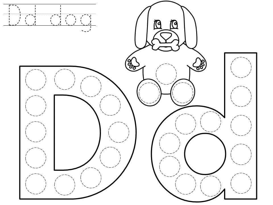 Dot Worksheets For Kindergarteners : Do a dot letter d printable « preschool and homeschool