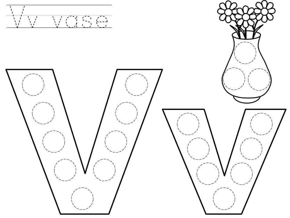 do a dot letter v printable funnycrafts