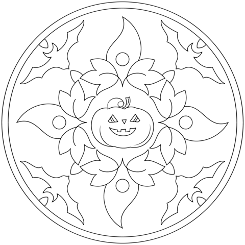 free printable halloween mandala coloring pages 2