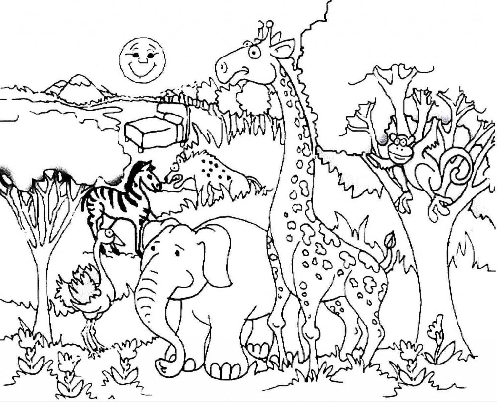 African Animals Coloring Pages Giraffe African Best Free