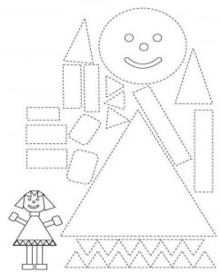 girl shapes coloring page