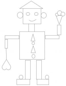 robot shapes coloring page