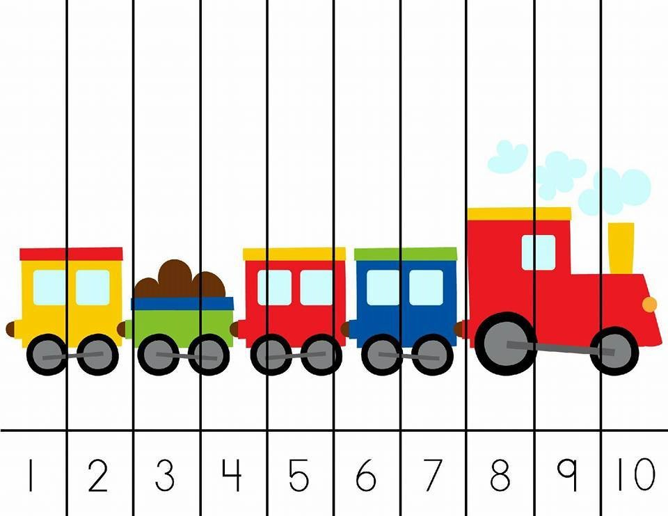 Train Number Puzzle For Kids on Writing Numbers Worksheets Printable