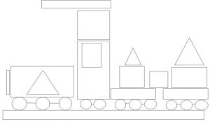 train shapes coloring page