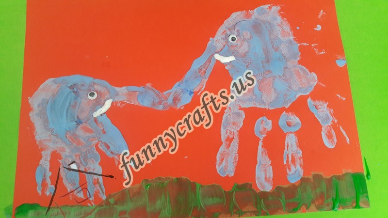 Handprint Elephant Art Funny Crafts