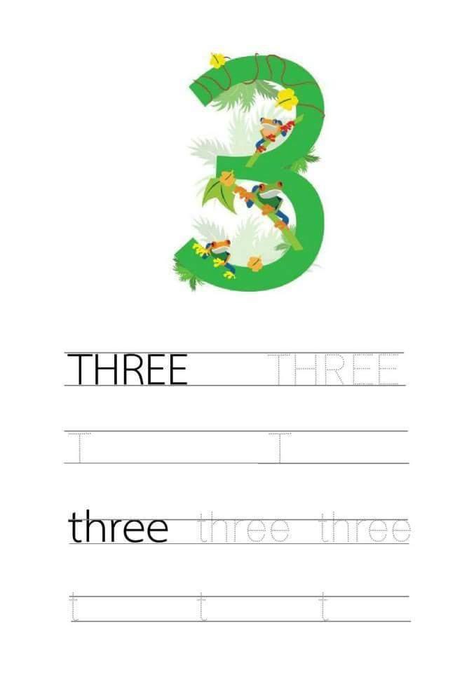 Free Handwriting Number 3 Three Worksheets For Preschool