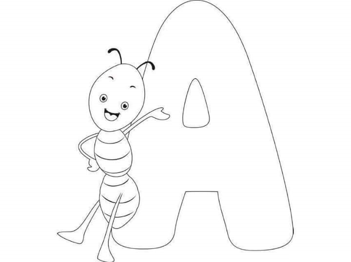 Free Printable Letter Coloring Pages For Kids A Ant