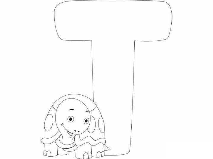 Free Printable Letter T Turtle Coloring Pages For Kids