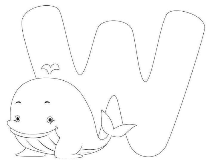 Coloring Pages For Letter W : Free printable letter w whale coloring pages for kids