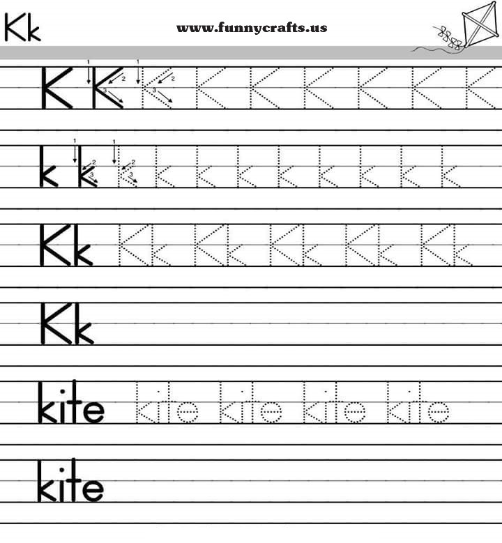K Grade Worksheets : Letter k handwriting worksheets for preschool to first