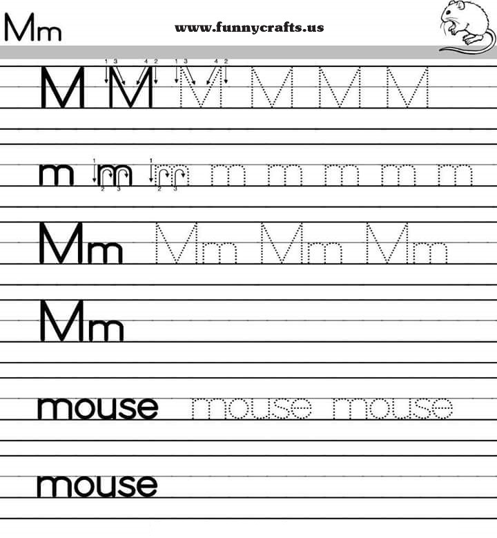 Letter M Handwriting Worksheets For Preschool To First Grade on Free Preschool Alphabet Coloring Pages
