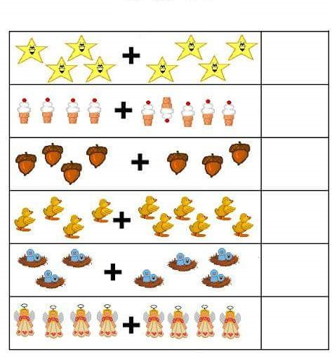 Math worksheets for kindergarten addition with pictures
