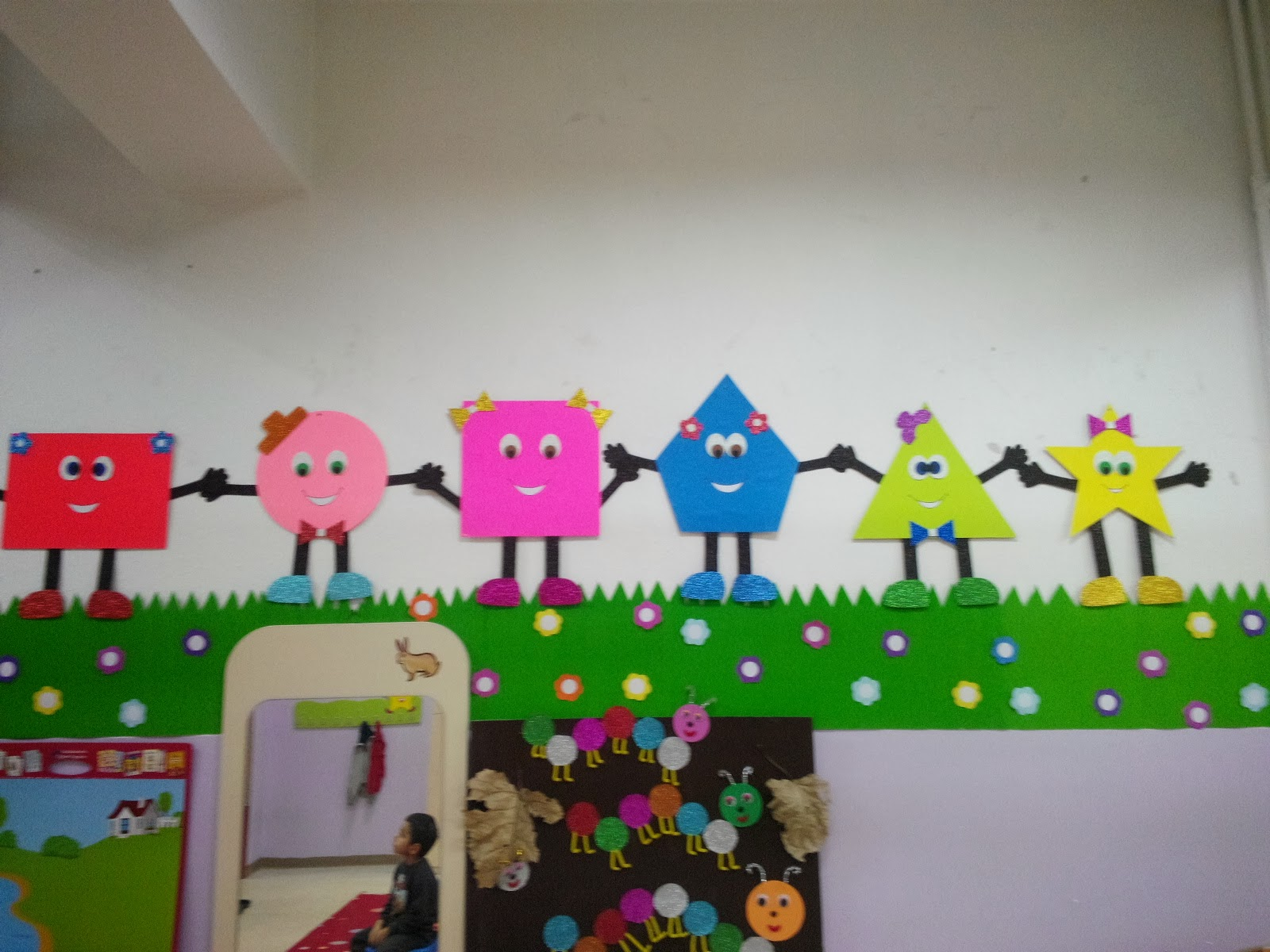 Ideas For Classroom Decoration Kindergarten ~ Preschool shapes bulletin board ideas for kids