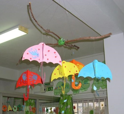 Preschool umbrella crafts decorations preschool and for Art and craft for school decoration