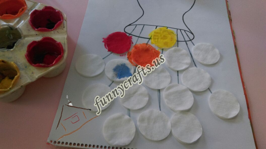Photo of Flower art with cotton pads
