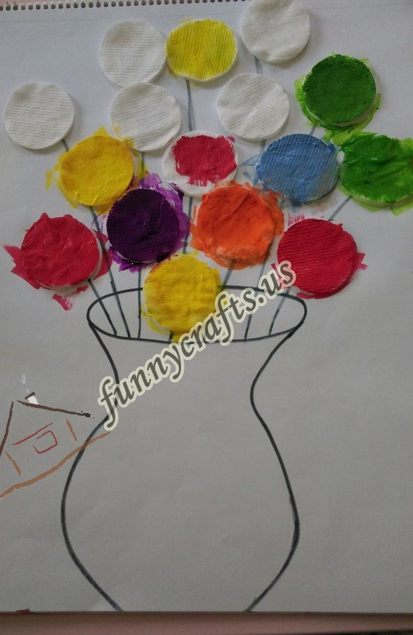 Flower art with cotton pads Funny crafts