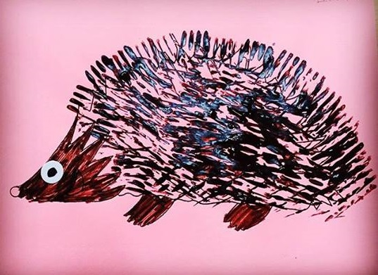 Math And Science Classroom Decorations ~ Fork painting hedgehog art « preschool and homeschool