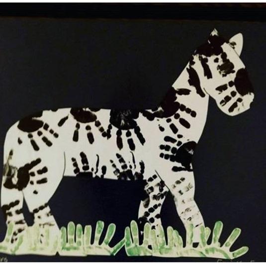 handprint zebra artwork preschool and homeschool On zebra crafts for preschool