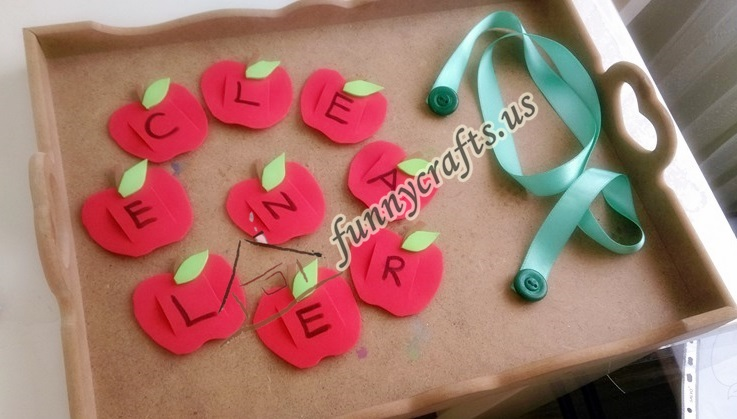Photo of Button Worm Fine Motor and Apple Name Activities