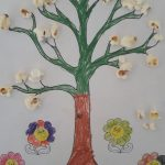 Spring tree craft with popcorn