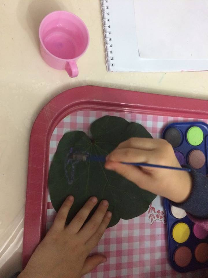 Photo of Foliage painting activity
