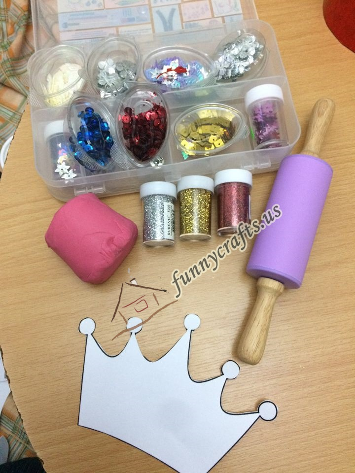 Photo of Princess crown making with sparkle play doh