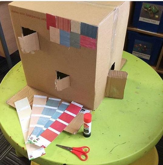 Photo of Cardboard box house school project